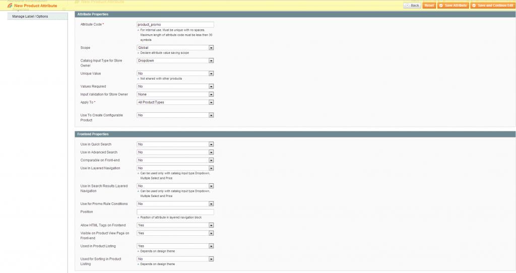 Attribute Setup Screenshot