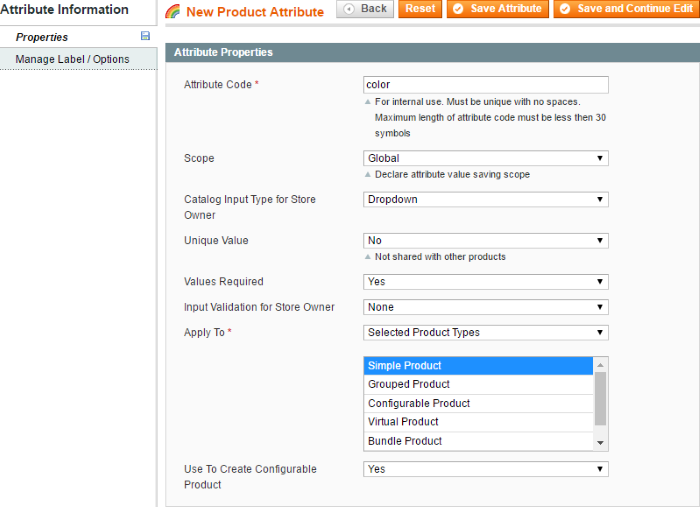 Product Attribute Options
