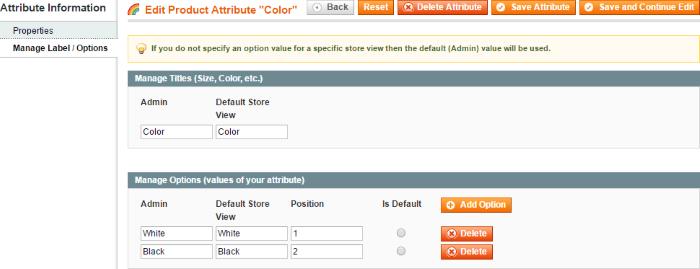 Config Product Colour Labels