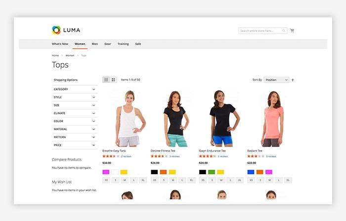 category page luma magento 2 luma template design v F2