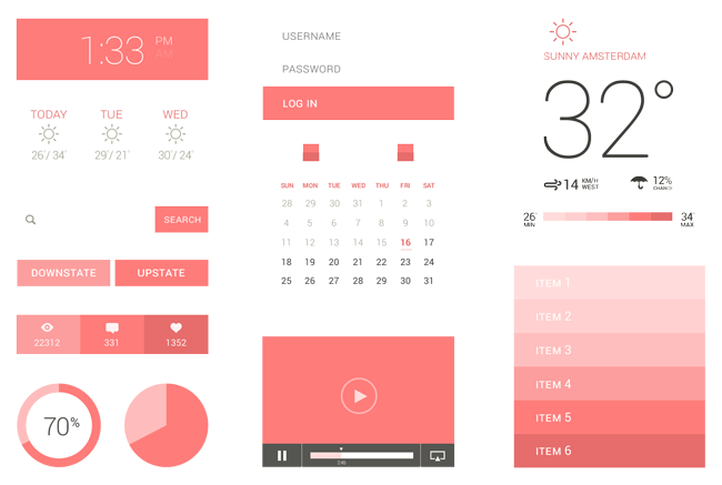 Simple shapes and icons flat ui